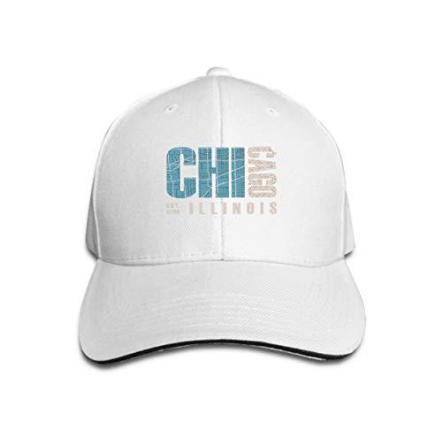 Xunulyn Washed Dyed Hats Baseball Caps Adjustable Chicago Illinois Print Design Stamp Label Typography