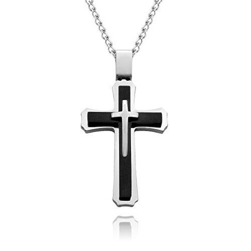 Herren-Halskette mit großem Kreuz aus Edelstahl mit 61cm Panzerkette, mehrschichtiges Silber, schwarz (Kostüme Verkauf Zum Tolle)