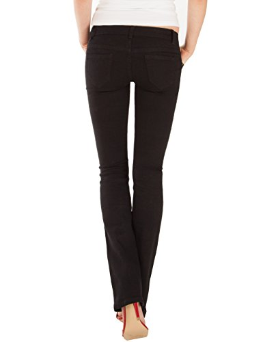 Fraternel Jeans donna bootcut stretch vita bassa Nero