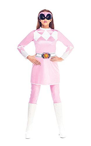 Pink Power Ranger Fancy Kleid Damen Superheld Rangers Erwachsene Damen Kostüm New – Extra Kleine UK Kleid Gr. 6–8 (Power Ranger Halloween)