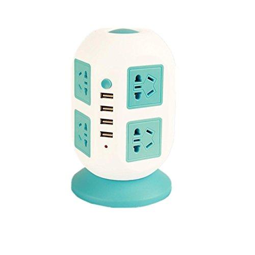Intelligent Power Strip vertikal Socket Board Multiple Sockets 4 USB Extension Tower Typ Überlast Schutz Lightning-Proof Buchse für Heim-und Büro-Appliances , blue