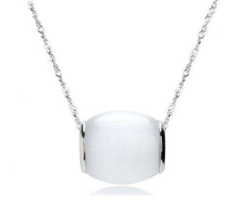 lber Katze Auge Transfer Glücklich Perlen Anhänger Halskette 18 Zoll Kette Farbe Weiß (Einfach, Halloween-katze-auge)