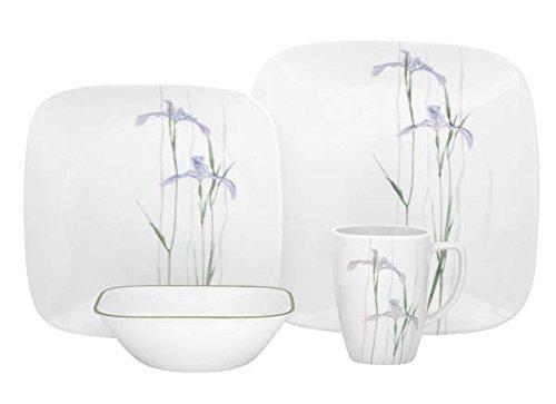 Corelle Geschirr-Set Shadow Iris aus Vitrelle-Glas für 4 Personen 16-teilig, Splitter- und bruchfest, violett - Iris Glas