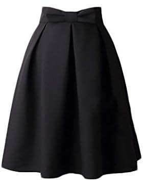 Falda Corta Mujer Elegantes Cintura Alta Bowknot Falda Plisada Años 50 A-Line Swing Color Solido Vintage Moda...