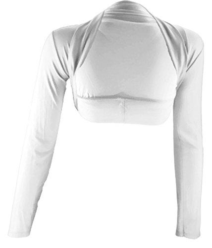 # 2129Donna Designer Bolero a maniche lunghe corallo turchese grigio nero bianco taglia unica 404244 Bianco