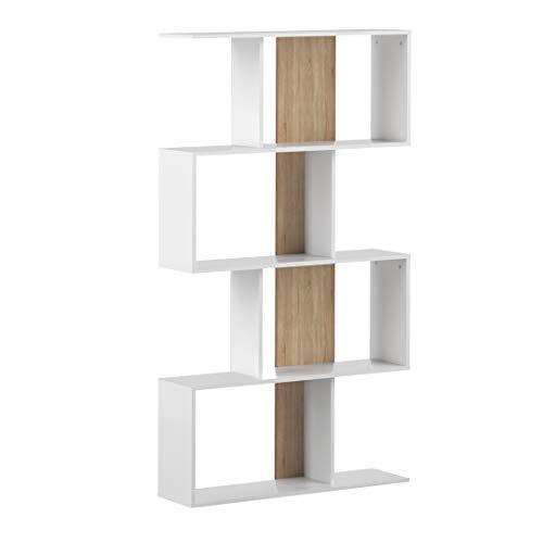 Movian Ercina - Librería, 89 x 25 x 165cm (largo x ancho x alto), roble y blanco
