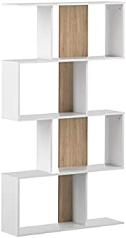 Marchio Amazon -Movian Ercina - Libreria, 89 x 25 x 165 cm (L x P x A), colore bianco e quercia