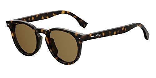 Fendi ff m0001/s 70 086, occhiali da sole uomo, marrone (dark havana/bw brown), 49