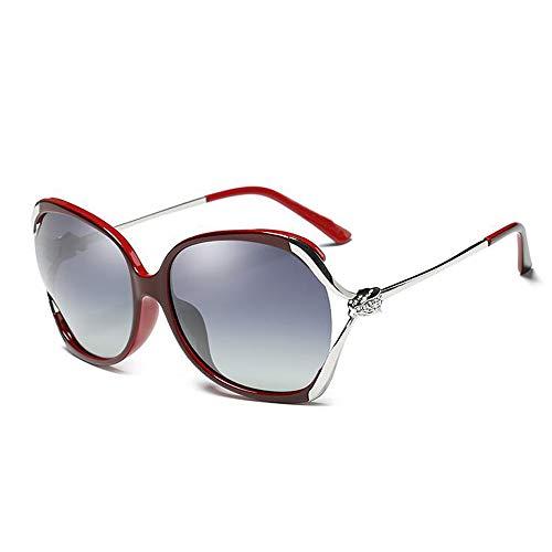WJS Polarisierte Sonnenbrille Weibliche Runde Gesicht Großen Rahmen Openwork Strass Mode Elegant Fahren Sonnenbrille (Farbe : Red)