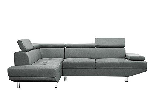 Canapé d'angle design gris tissu 4/5 places (angle gauche)