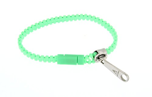 Kettenworld Zip Zap Reißverschluss-Armband aus Edelstahl und neon- grünen Nylon