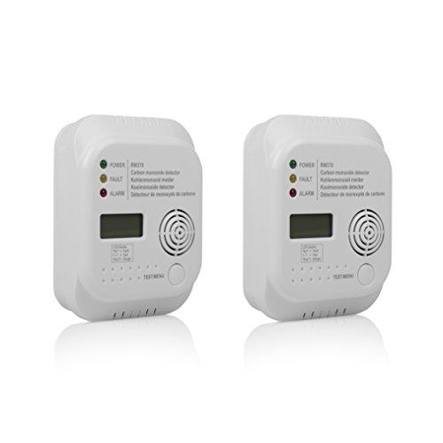 2er Set Kohlenmonoxid Melder mit Display und Temperaturanzeige, Prüftaste, RM370