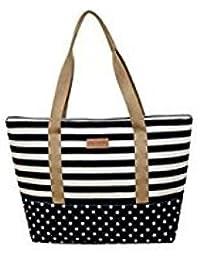 Tradico® Ladies Canvas Color Blocking Stripe Shoulder Bag (Black)