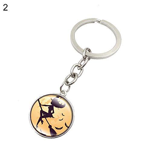 (wonCacrostrans Unisex Schlüsselanhänger, Halloween Hexe Runde Glas Anhänger Auto Schlüsselanhänger Handtasche Dekor Geschenk 2#)