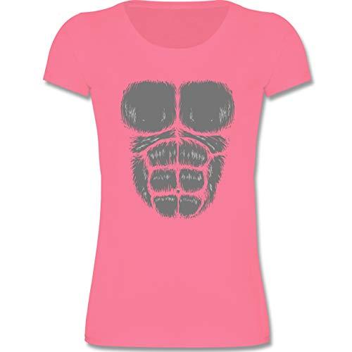 (Karneval & Fasching Kinder - Gorilla Kostüm Fasching - 110-116 (5-6 Jahre) - Rosa - F288K - Mädchen T-Shirt)