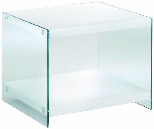 Haku Möbel 87391 Table d'Appoint MDF/Verre Trempé Blanc 48 x 55 x 45 cm