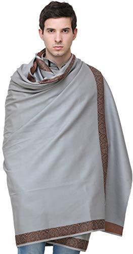 5bfebd9c23810b Exotic India Plain Men's Shawl with Brown Woven Border - Braun - Color Gray  Color EinheitsgrÃ