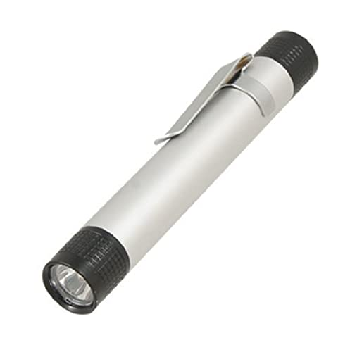 sourcingmap® White LED Silver Tone Black Aluminum Shell Pen Design Flashlight Torch