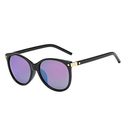 CHEREEKI Damen Mode Sonnenbrillen Oval Klassisch Brille Verspiegelt Sonnenbrille für Frauen UV400 Schutz (Schwarz Violett)