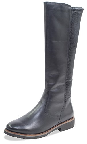 CAPRICE Damen Stiefel 25601-21,Frauen Boots,Lederstiefel,Reißverschluss, Decksohle,3cm,Black Nappa,EU 41