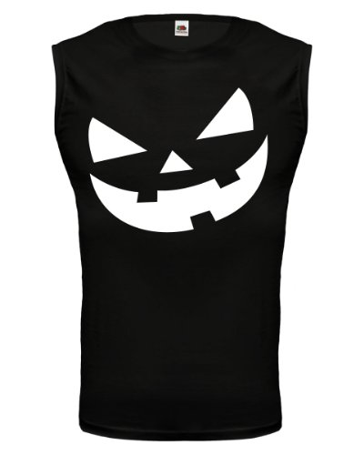 Tank Top Halloweenpumkin-Face-M-Black-White