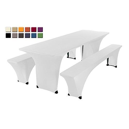 SCHEFFLER-HOME Bierzelt-Garnitur 3tlg. Set für Tisch und Bänke Stretch-Hussen 70x220 cm, Stretch-Bezug bi-elastische Husse, moderne...