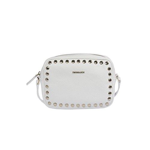 Trussardi Femme Petit sac à main, Clutch avec bandoulière métallique, en cuir véritable Dollar, 100% Calf - 20x14x7 Cm Blanc