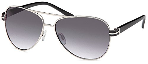Elegante Unisex Sonnenbrille in Pilotenform mit Kunststoffbügeln in gold oder silber- Im Set mit...