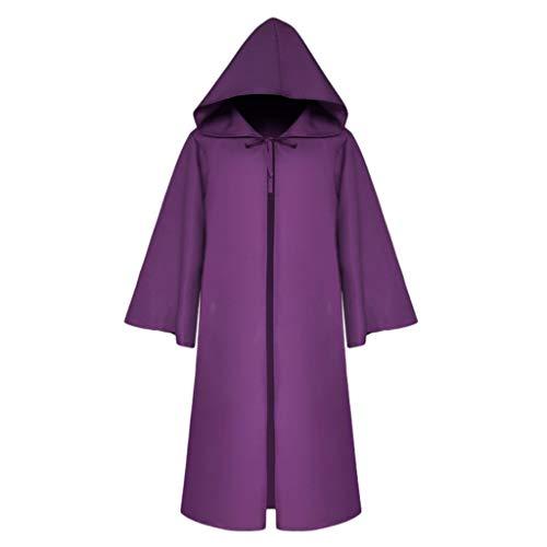 Nashorn Baby Kostüm - Lazzboy Halloween Karneval Party Männer Vintage Gothic Solid Hooded Bandage Mantel Cosplay Outwear Erwachsene Tod Umhang,Teufel Kostüm Samt Cape(Lila,2XL)