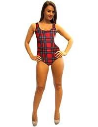 Classic Tartan Print Swimsuit Bodysuit Leotard