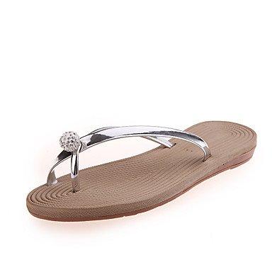 LQXZM Hausschuhe &Amp; Flip-Flops Komfort im Sommer PU Casual flachem Absatz Strass Silver