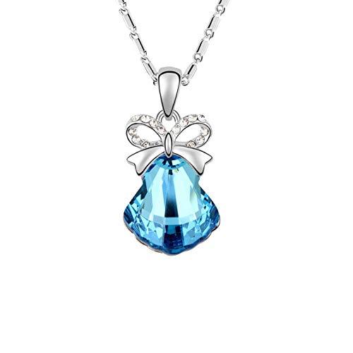 AEYMF Swarovski Elements Crystal Halskette Sweet Bow Scallop Anhänger,Blue-OneSize Crystal Scallop