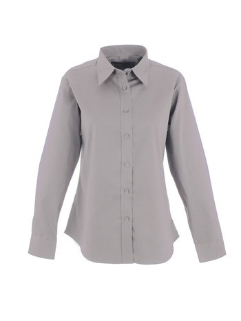 Kurze Full Sleeve Shirt (Damen Pinpoint Oxford uc703-Full Sleeve Shirt (140gsm)-Silber Grau-5X L)