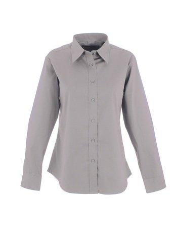 Pinpoint Oxford (Damen Pinpoint Oxford uc703-Full Sleeve Shirt (140gsm)-Silber Grau-5X L)