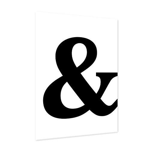 Photolini Design-Poster 'Und Zeichen' 30x40 cm schwarz-weiss Motiv Typographie Dekoration Modern (Ein Zeichen-design)