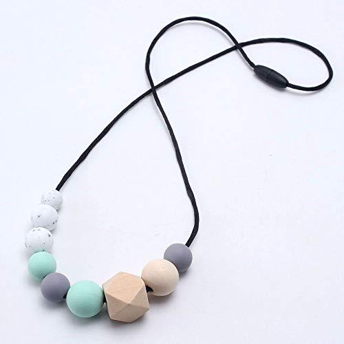 SSLL Halskette Baby Silikon Kinderkrankheiten Original Holzperlen Halskette Pflege Kaubare Beißring Für Baby Und Mama, B