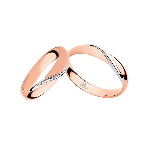Fedi Polello In Oro Bianco E Oro Rosa 18 Kt 750/1000 Con Diamanti 2892drb-urb, 26