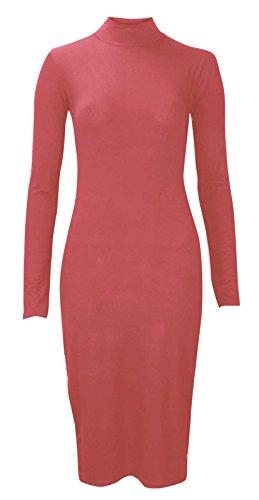 Baleza da donna polo tuttle collo celebrità ispirato a maniche lunghe Bodycon MIDI vestito Rosso