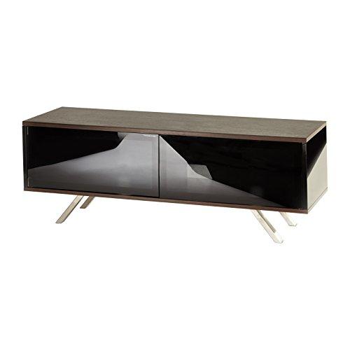 Schwarz TV Ständer Schrank mit oak|, für LED, LCD, Plasma, 4K, flach Bildschirm tvs| bis 152,4cm Zoll capacity| komplett mit 1verstellbaren Regalboden Hinter 2Beam Thro Glas - Einfach Die Ps4 Bewegen Sie