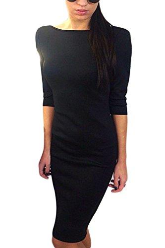 Frauen In Eleganten Rückenfrei 3 / 4 - Ärmel Boot Hals Bodycon Party - Kleid Mit Bowknot Black