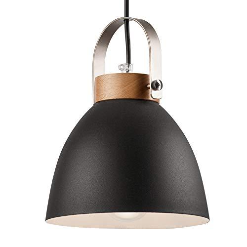 JVS Pendel-Leuchte Decken-Leuchte aus Metall E27 Hänge-Leuchte Vintage Industrieleuchte Wohnzimmerlampe Modern Wohnzimmer mit Kabel Vintagelampe für Wohnzimmer/Küche/Büro/Praxis (Graphite, 1-flammig)