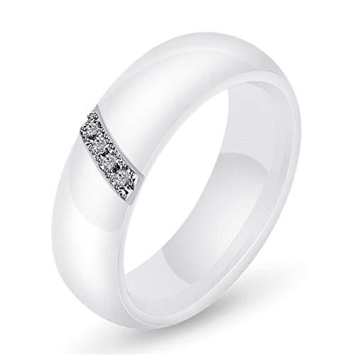 Stange Zirkon Engagement Hochzeit Band Ringe Keramik Weiß Größe 52 (16.6) ()