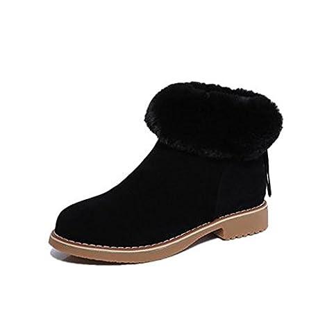 Minetom Femme Hiver Classiques Chaudes Duvet Bottes De Neige Fermeture Éclair Suède Cheville Bottines Antidérapant Chaussures Plates Noir EU 38