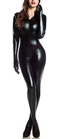 Mangotree Kostüm Wet Look Catsuit Bodysuits Dessous Nachtkleid Clubwear Catlady Kostuem (schwarz)