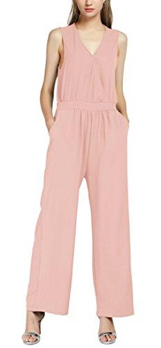 Urban GoCo Mujer Mono Jumpsuits Elegante Bodysuit Verano Pantalones Largos para Fiesta Playa (M, Nude Pink)
