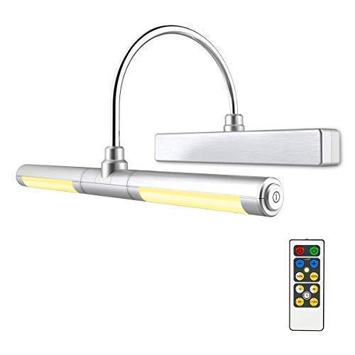 HONWELL Bilderleuchte LED Spiegelleuchte Verstellbare LED Wandleuchte für Bilder Spiegel AA Batterie Betriebene Wandleuchte mit Fernbedienungen 180° Schwenkarm