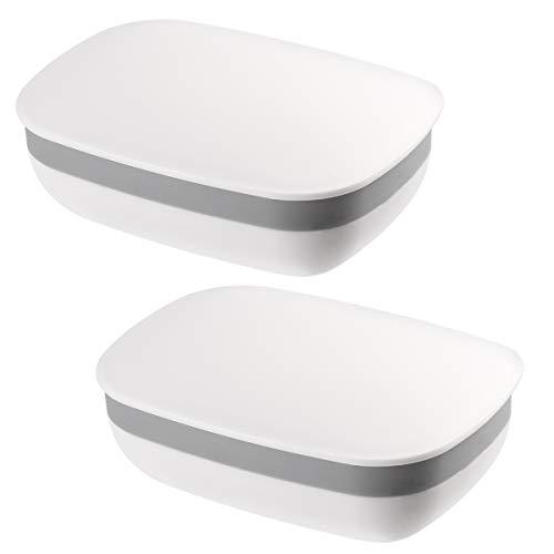 OUNONA Seifendose Seifenschalen Box mit Abdeckung für Badezimmer Reise 2 Stück (Weiß) - Kunststoff-seifenschale
