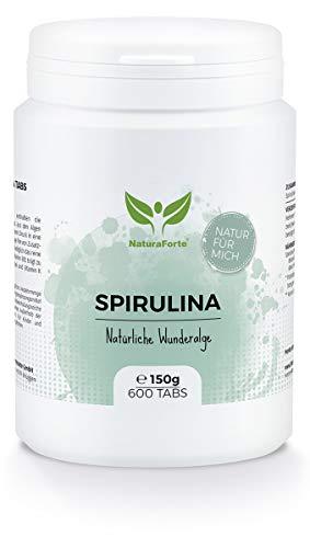NaturaForte Spirulina Tabletten - 3 Monate Vorrat - Hochdosiert Spirulina Presslinge, Spirulina Pulver Alge ohne Zusätze, Vegan, Vitamin B12 & K, Superfood, Laborgeprüft, Abgefüllt in Deutschland -