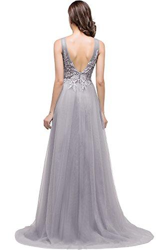 Babyonline- Damen Elegant Spitze Tüll Abendkleid Ballkleid Hochzeit Brautjungfernkleid Rückenfrei lang 32-46 Grau