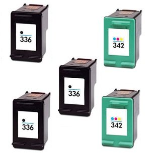 Prestige cartridge 5 x compatibile hp 336 / hp 342 cartucce d'inchiostro per stampanti hp photosmart/deskjet/officejet serie, nero/colore